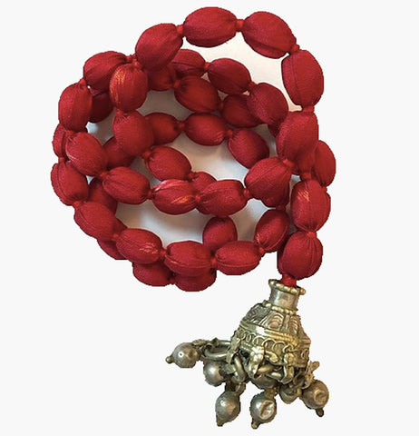 Jhumka Sari Bead Necklace - Red