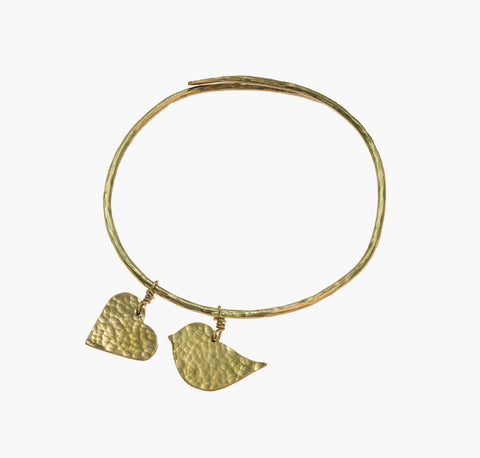Fair Trade Lovebird and Heart Bangle