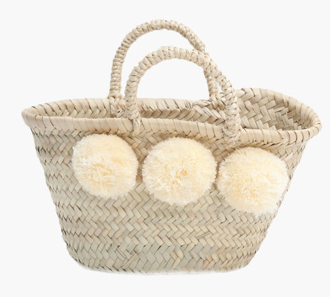 Mini Pom Pom Basket - Cream