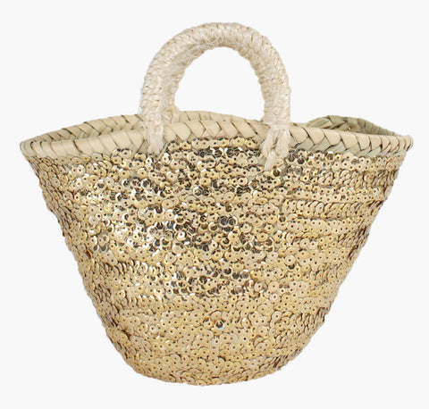 Mini Sequin Basket - Gold