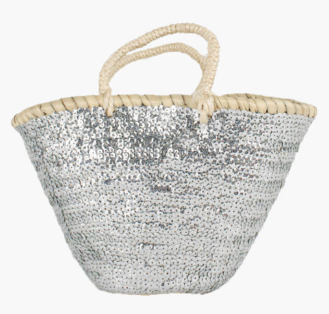 Mini Sequin Basket - Silver
