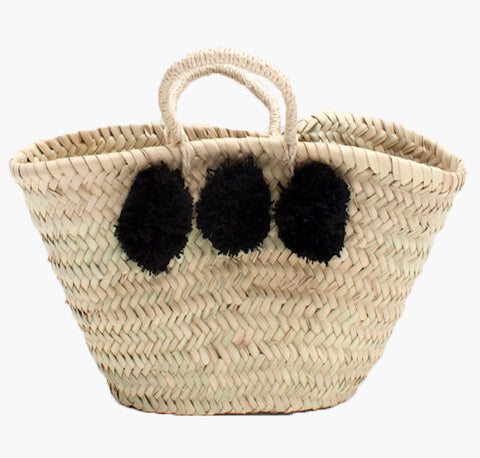Mini Woven Basket with Black Pom Poms - Sustainably made in Morocco