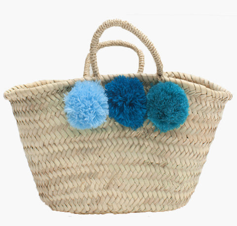 Mini Pom Pom Basket - Blue Ombre