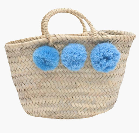 Mini Pom Pom Basket - Blue - Postcards Home