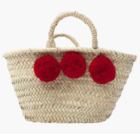 Red Mini Pom Pom Basket - Postcards Home