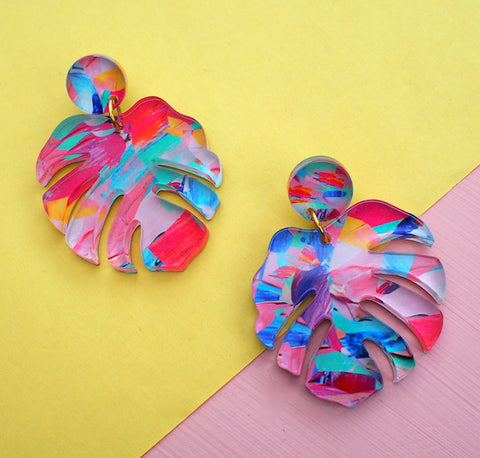 Monstera Coloured Earrings - Postcards Home - Handmade Jewellery