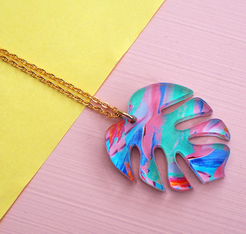 Monstera Necklace - British Handmade Jewellery - Melody G at Postcards Home