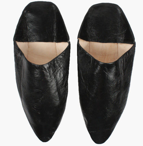 Moroccan Babouche Black Slippers for Men - Perfect Gift for Men who love style and home