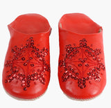 Babouche Sequin Slippers, Red