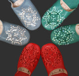 Moroccan Babouche Sequin Slippers, Jade Green