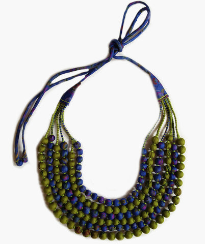 Multi String Sari Bead Necklace - Green and Blue