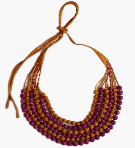 Multi String Sari Bead Necklace - Magenta and Ochre
