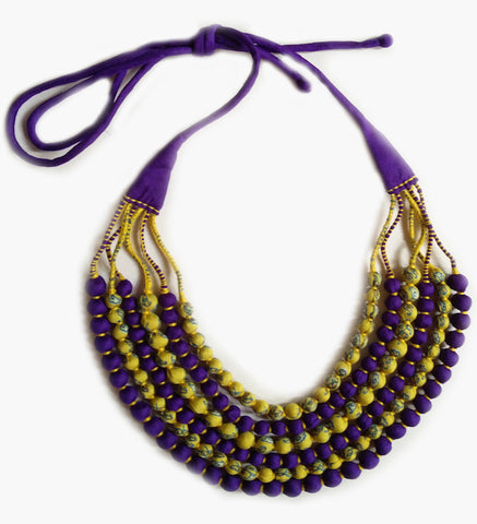 Multi String Sari Bead Necklace - Yellow and Purple