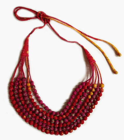Multi String Sari Bead Necklace - Red