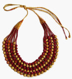 Multi String Sari Bead Necklace - Yellow and Red