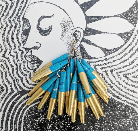 Paper Drop Earrings - Gold and Blue - Fair Trade Jewellery