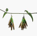 Paper Drop Earrings - Gold and Green - Fair Trade Earrings
