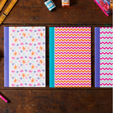 A5 Notebook - Pink and Blue Chevrons - Postcards Home