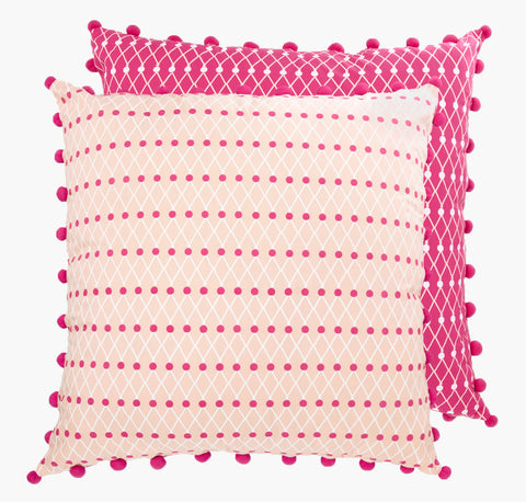 Pink Net Block Floor Cushion - Postcards Home