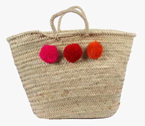 Pom Pom Basket - Pink, Red, Orange