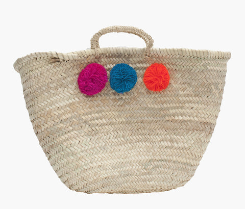 Pom Pom Basket - Fuchsia, Teal and Orange