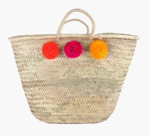Pom Pom Basket - Orange, Pink, Yellow