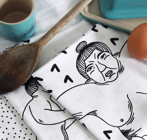 Handmade Sumo Tea Towels - Set of Three - Safomasi - Postcards Home