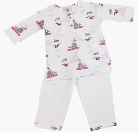 Whale and Bird Pyjamas - Organic Cotton