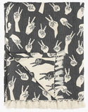 Grey Peace Hands Woven Throw - Postcards Home
