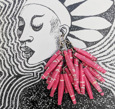 Paper Drop Earrings - Fuschia Pink - Ethical Jewellery