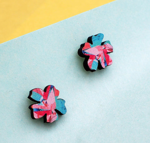 Wooden Flower Studs - Handmade by Melody G - Postcards Home Jewellery