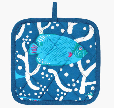 Blue Ocean Reef Pot Holder - Handmade by Safomasi for Postcards Home