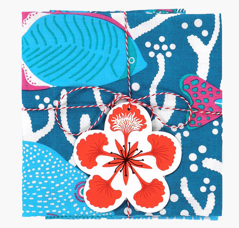 Blue Ocean Reef Tea Towel Set - Handmade by Safomasi for Postcards Home
