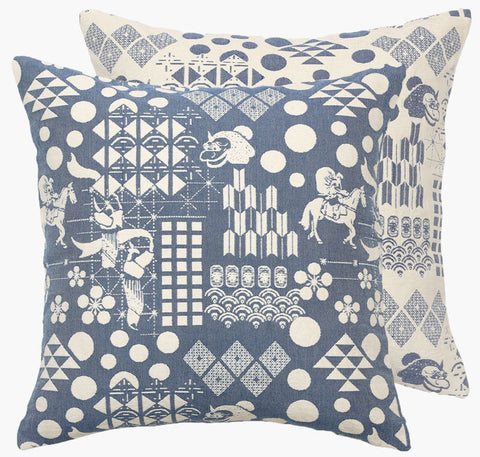 Blue Festival Woven Cushion - Postcards Home