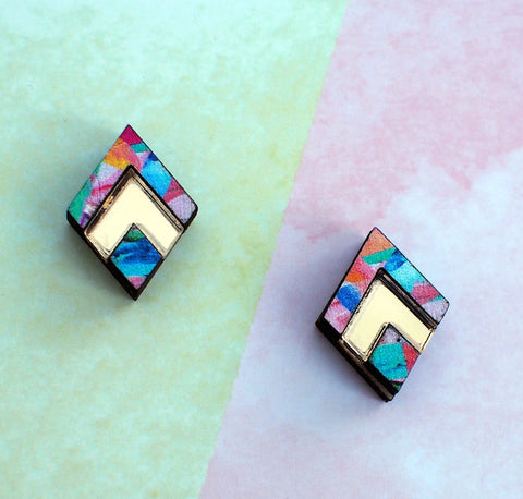 Geo Diamond Studs - Postcards Home - Handmade Jewellery