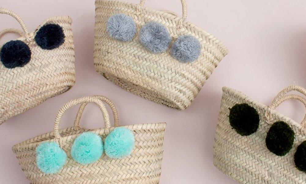 Handwoven Baskets with Pom Poms