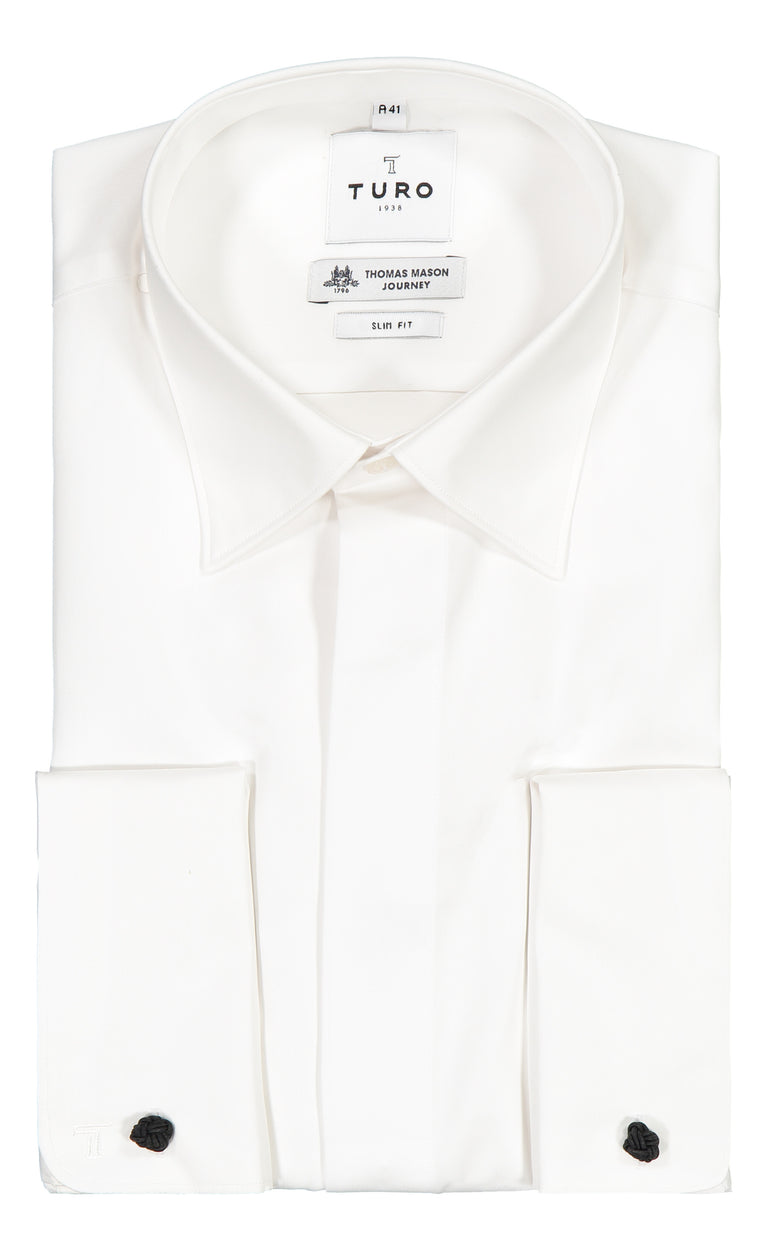 Portofino Slim fit Evening Shirt in Thomas Mason Journey (6570504880190)