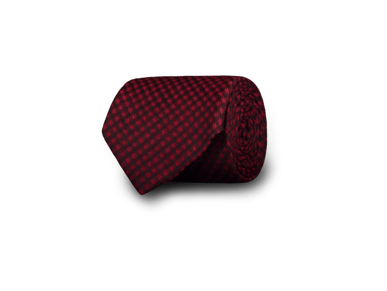 Wool-silk tie in red check (4299893276734)