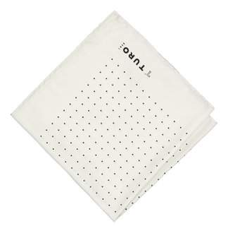 White silky pocket square with dots (4300465438782)