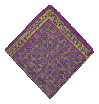 Silky medallion pocket square in purple
