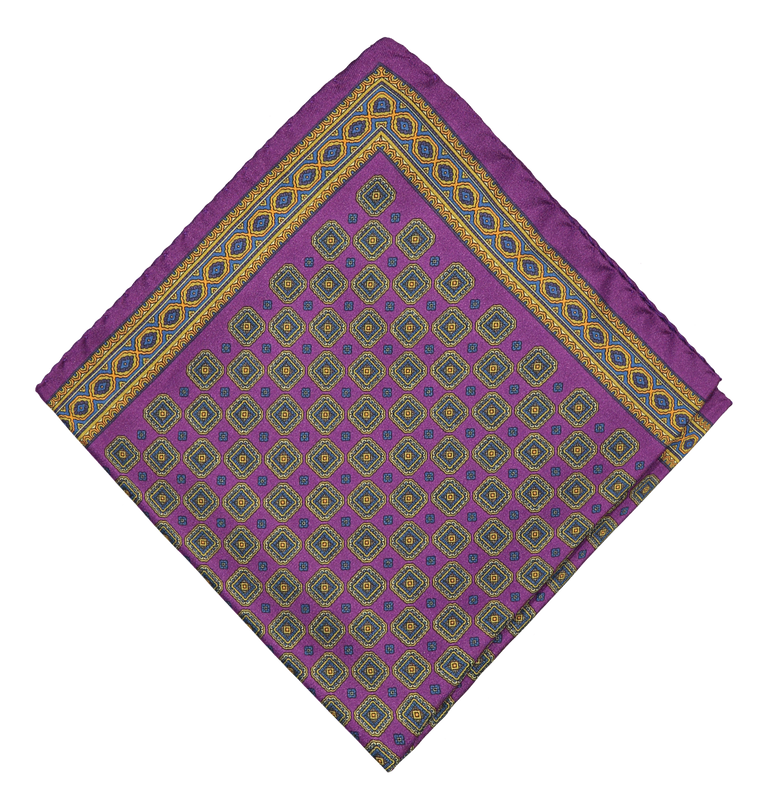 Silky medallion pocket square in purple (4300560793662)