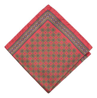 Silky medallion pocket square in red