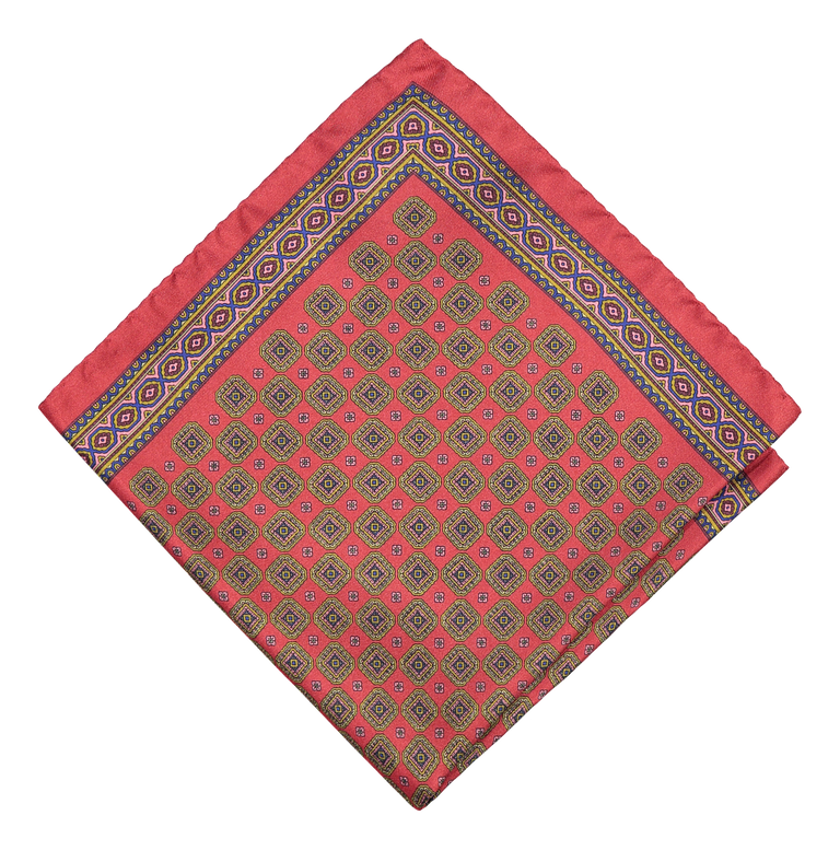 Silky medallion pocket square in red (4300580913214)