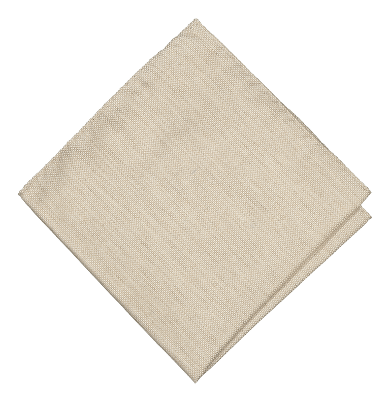Beige wool-silk pocket square