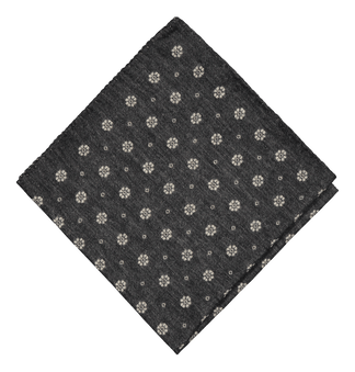 Wintery wool-silk pocket square in grey
