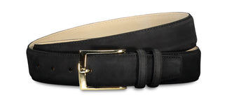 Matte black leather belt