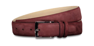 Matte leather belt wine red