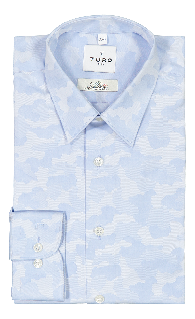 Slim fit shirt in Albini blue cloud (2297210568766)