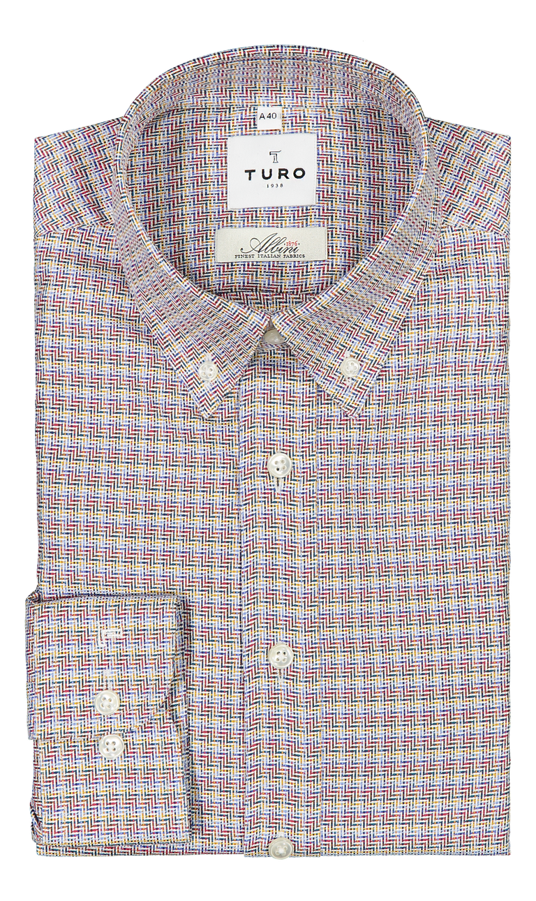 Casual slim fit shirt in Albini multicolor
