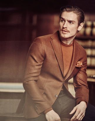 Slim fit blazer Jaden from Loro Piana wool in spicy orange